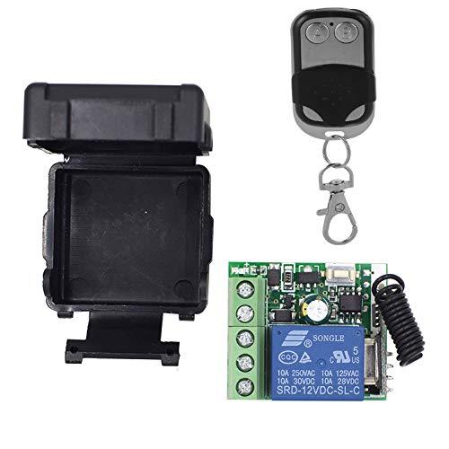 Récepteur Universel 1 Canal avec Émetteur Télécommande 433 Mhz Récepteur Radio Auto-apprentissage pour Lumières Lampes Portail Automatique DC 12V 10A