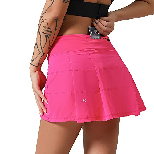 MCEDAR Athletic Tennis Golf Skorts Skirts for Women with Pocket Workout Running Sports Pleated Skirts Casual Pink/12