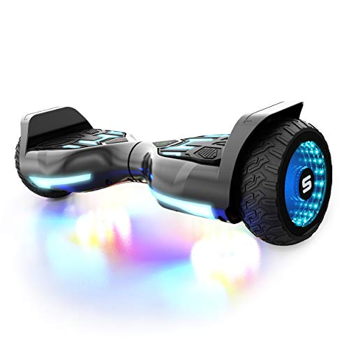 Swagtron Swagboard T580 Warrior Hoverboard with Speaker Synced Lighting FX Powered by LiFePo Battery Technology (Black)