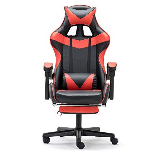 Soontrans Ergonomische Game Chair, Home Office Computerstoel met voetsteun, 150kg capaciteit, in hoogte verstelbaar, aanlegbaar