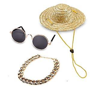 YESSART Pet Dog Cat Costume Black Sunglasses Gold Chain Collar Hat Set of 3