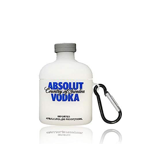 Kompatibel mit Airpods 1 & 2, Lustiges 3D Cartoon Silikon Weinflasche Design, Weiches Leder Karabiner Schutzhülle, Geeignet für Mode Mädchen Kinder Teen Jungen Airpods cas (Absolut Vodka)