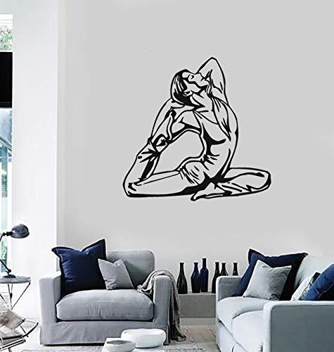 57x61 cm, wandaufkleber für wohnzimmer abnehmbare, athletische figur mädchen gymnast große sportverein kunstwerk kindergarten für bilder hängen moderne wohnzimmer aufkleber wandbild raumdekor vinyl