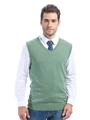 Choies Men's Green Casual Slim Fit Knitted Vest V-Neck Sweater Vests XL