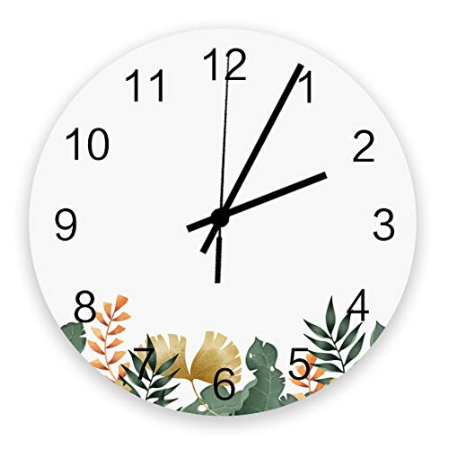 Edwiinsa No-Ticking 12 Inch Silent Wooden Round Wall Clock Summer Tropical Ginkgo Leaf Battery Operated Home Decor Kitchen Bathroom Clock