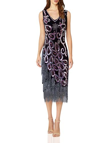 VIJIV Women's Vintage 1920s Style Sequined Beaded Prom Flapper Dress for Great Gatsby Party Themed Black