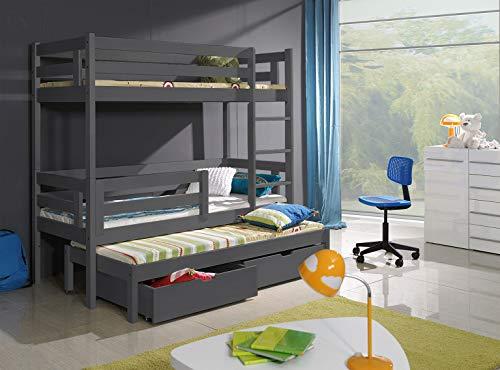 Bunk Beds Etagenbett mit 3 Etagen, moderner, massiver Holzrahmen mit Ausziehmechanismus, 2 Schubladen, Grau