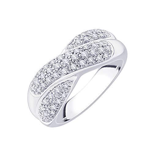 Anillo de plata de ley con diamantes de moda (3/8 quilates) (I-color, SI3/I1-Clarity)