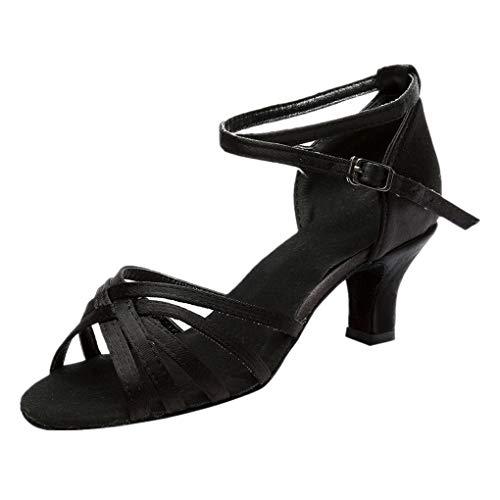Dorical Damen Latein Tanzschuhe/Sandale mit 3/5cm Absatz/Mädchen Salsa Tanz Latein Stil Tanzschuhe/Ballsaal Tanzschuhe für Halloween Performance-Schuhe Valentinstag Schuhe (Schwarz,39 EU)