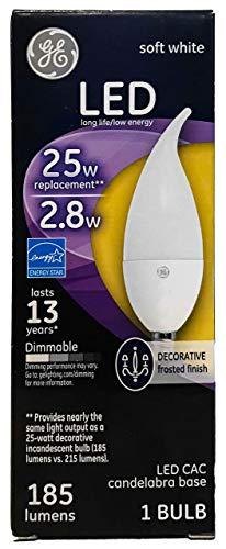 GE 2.8-Watt (25-Watt Replacement) 185 Lumens Soft White Candelabra Base Bent Tip LED Light Bulb