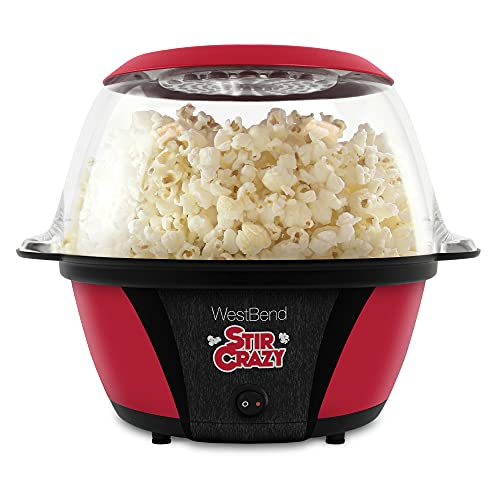 West Bend Stir Crazy Electric Hot Oil Popcorn Popper Machine Offers Large Lid for Serving Bowl and Convenient Storage, 6-Quarts, Red