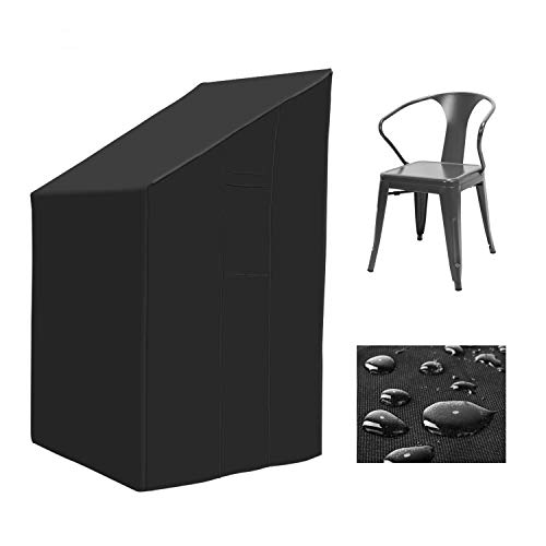 MVPower Abdeckung für Gartenstühle mit Zugkordel & Befestigungsclips, Wasserdicht & Winterfest/600D Oxford + PVC/66x66x80/120cm für bis zu 4 Stühle