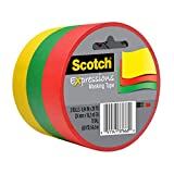 Scotch Expressions Masking Tape.94 in x 20 yd, 3 Rolls/Pack, Red, Yellow, Green (3437-3PRM)