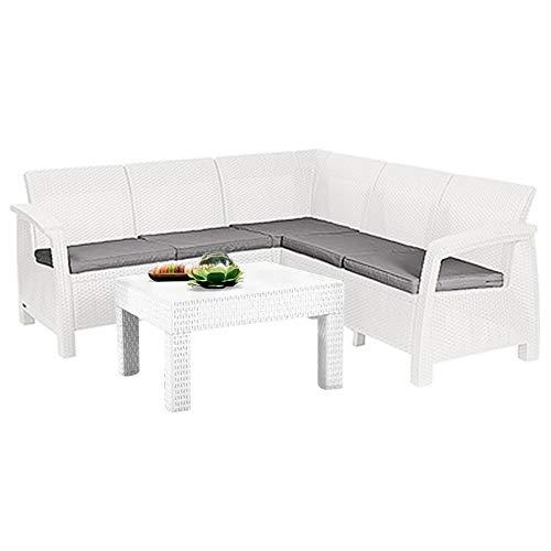 Mediawave Store - Salón de jardín de resina Corfu' con sofá esquinero de 6 plazas con mesa para apoyo, salón de exterior, ideal para jardín, terraza y bar, color blanco.