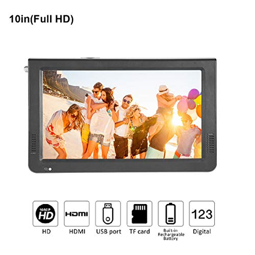 10 Inch Portable Digital Television, Small 16:9 ATSC 1080P HD High Definition Multimedia Interface Video Player TFT LED TV with Rechargeable Battery Support USB TF Card for Car/Camping/Outdoor/Kitchen