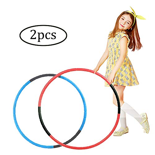 Best Review Of TaemBuy Hoola Hoop for Kids Set of 2 Detachable Adjustable Weight/Size Plastic Kid Ho...