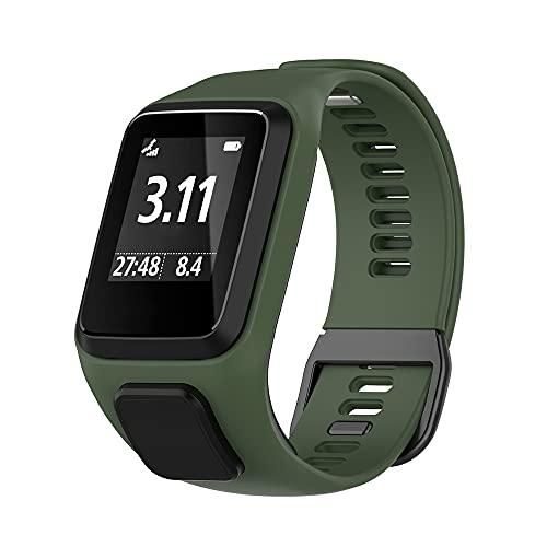 KINKUUN Correas para relojes Compatible con TomTom Runner 2/3 Spark/3 Cardio + Music Pulseras de repuesto.Correa de Reloj.(Verde oscuro)