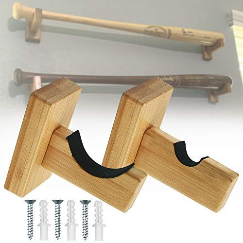 SNAGAROG 2 Stück Wandhalterung Baseballschläger Halterung Braun Holz Baseballschläger Display Stand Baseballschläger Display Rack mit Schrauben, für Baseballschläger Softballschläger Hockeyschläger