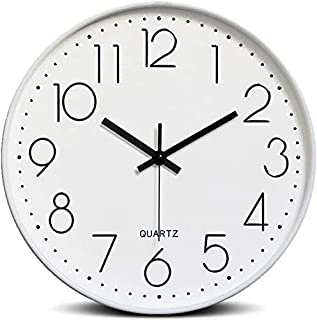 Bekith 12-Inch Silent Non-Ticking Quartz Wall Clock Round Modern Battery Operated Decorative Wall Clocks for Living Room H...