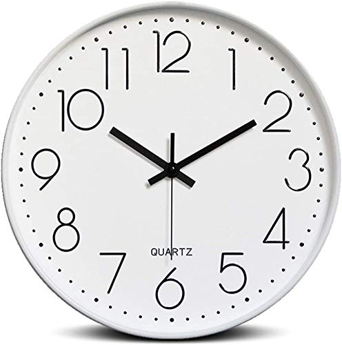 Bekith 12-Inch Silent Non-Ticking Quartz Wall Clock Round Modern Battery Operated Decorative Wall Clocks for Living Room Home Office School, White