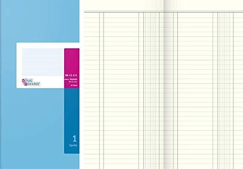 Rey y columnas Ebhardt 8613411 libro, columnas libro, 1 columna, 2/3 A4, 137 x 297 mm, 40 hojas, azul claro/magenta