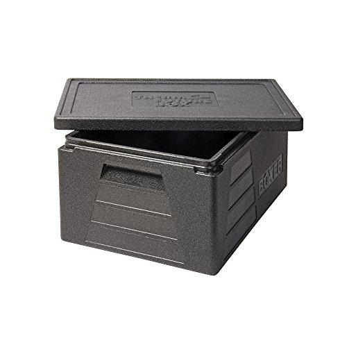 Thermo Future Box Quadratische GN 1/1 Premium Transportbox Warmhaltebox und Isolierbox mit Deckel, Thermobox aus EPP (expandiertes Polypropylen), Schwarz, 42 Liter Boxer