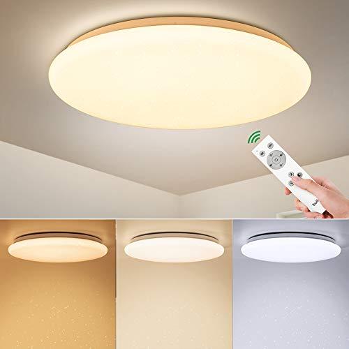 BULING LED Schlafzimmer Deckenleuchte Dimmbar mit Fernbedienung 24W 2400LM, Sternenhimmel Deckenlampe Kinderzimmer Modern IP44 Ø 40cm