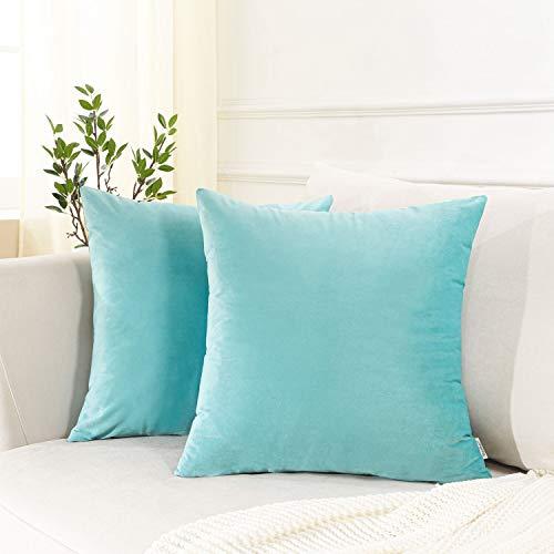 Topfinel クッションカバー 45×45 2枚セット 北欧 無地 浅いブルー74# お洒落 ベルベット ソファ背当て 装飾枕カバー