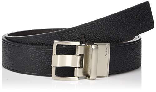 Calvin Klein Men's 38mm reversible belt with heat crease, Black/brown, 32