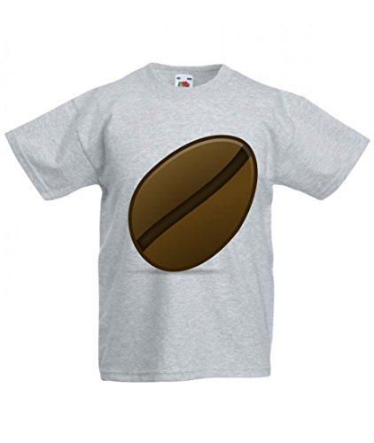 T-Shirt Bohne- Kaffee- ICON- Ikonen- MATT- Symbol in Grau für Herren- Damen- Kinder- 104-5XL