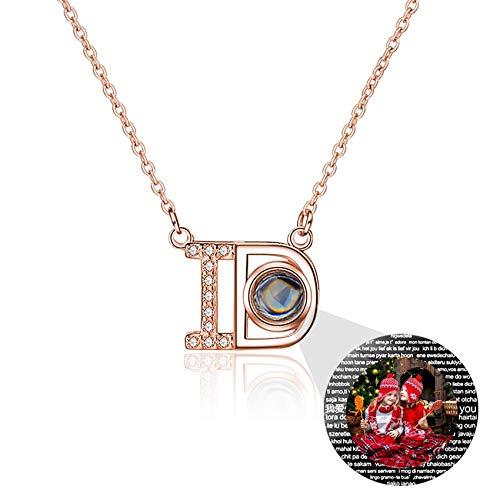 TheBigThumb Collar De Proyección Fotográfica Personalizado My Love Collar con Colgante Elegante En 100 Idiomas Ideas Únicas De Joyería De Aniversario De Navidad para Bodas para Amantes(Oro rosa3-16)