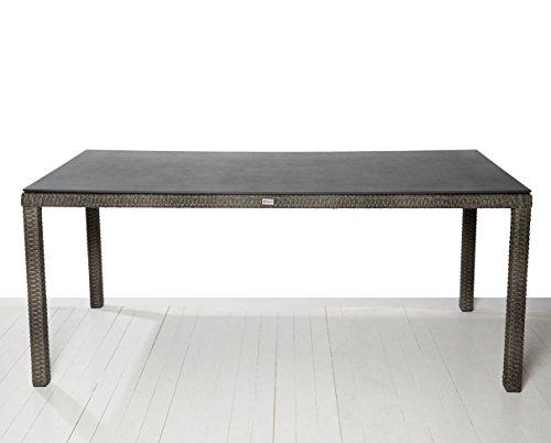 Barcelona Esstisch ca. 160 cm x 90 cm Glasplatte Spraystone Gartentisch Tisch