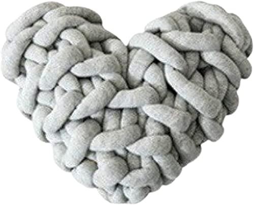 Cute Decor Throw Pillows Almohadas de corazón Cojines de sofá Gris claro 28x27 cm Cojín mullido Cojín decorativo Cojín cómodo para silla