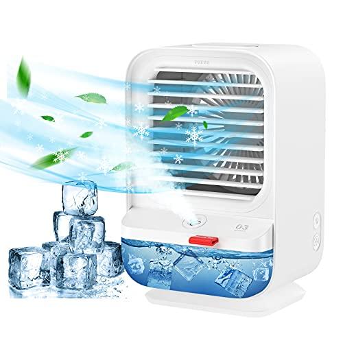 Climatiseur Portable, Sholov Mini Ventilateur Refroidisseur d'air 4 en 1 USB Ventilateur de Climatisation Humidificateur 3 Vitesses Fonction d'aromathérapie avec Veilleuses pour Maison Bureau