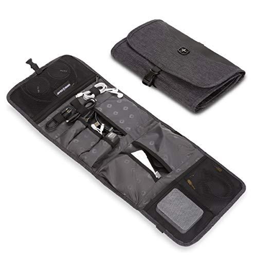 SWISSGEAR Fold Over Cord Organizer Case | Travel Tech Wire Case | Water Resistant | Zipper Closure – Grey Heather