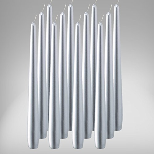 bolsius Spitzenkerzen 245/24 mm 12er Pack Leuchterkerzen Kerze Stabkerzen Silber
