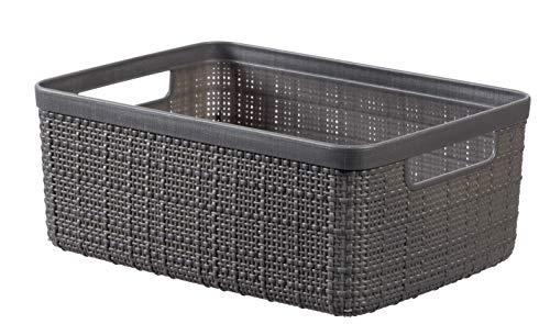 Keter Jutekorb, 100% recycelter Kunststoff, rechteckig, 5 l Small dunkelgrau