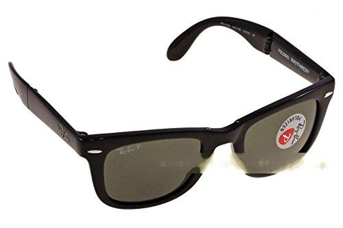 Ray Ban Für Mann Rb4105 Folding Wayfarer Black / Green (Polarized) Kunststoffgestell Sonnenbrillen, 54mm