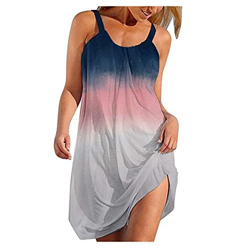 XUNN Damen Sommerkleid Damen Kurzarm Sexy V-Ausschnitt Strandkleider Freizeitkleider Boho Retro Schlinge ärmellos Kleider Frauen Kleid