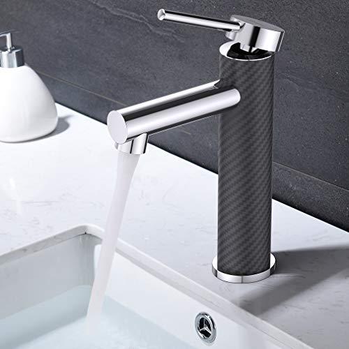 Synlyn Wasserhahn Bad Armatur Schwarz Kohlefaser Einhebel-Mischbatterie Badarmatur für Bad Badezimmer Waschbecken Waschtisch Einhebelmischer