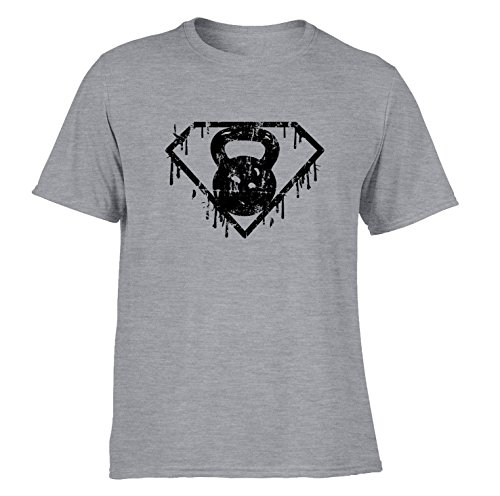 DesignDivil Kettlebell Superhero T-Shirts Distressed Print Gym Training Workout Fitness SP (Medium, c. Sporty Grey)