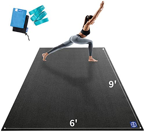 Premium Large Yoga Matfor Home Gym Workout 9'x6'x9mm, Extra Wide and Long Exercise Mats for Double Men and Women, Thick, Non-Slip, Soft for Stretchingand Light Cardio on any Floor, Use Without Shoes