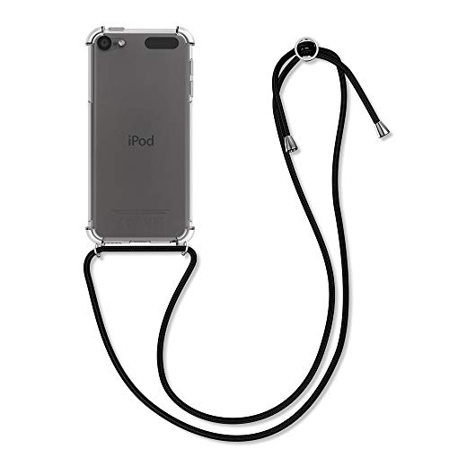 kwmobile Hülle kompatibel mit Apple iPod Touch 6G / 7G (6. und 7.Generation) - mit Kordel zum Umhängen - Silikon Schutzhülle Transparent Schwarz