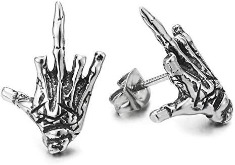 Mens Womens Stainless Steel Vintage Hand Skeleton Bone Stud Earrings Screw Back Punk Rock Gothic product image