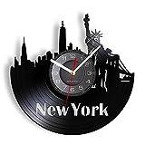 BABYCOW Nueva York Skyline Vinilo álbum reutilizado Reloj de Registro Obra de Arte de Nueva York Estatua de la Libertad álbum de Vinilo Shadow Art Silent Move Reloj de Pared