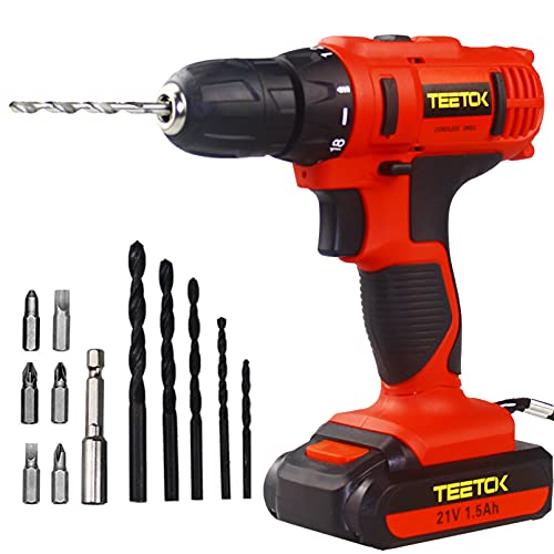 Cordless Drill with Battery 21V 18+1 Toque 45Nm Cordless Combi Drill Driver Electric Screwdriver Twist Drills Kit Set LED Worklight Recharge Lithium-Ion 1500mAh Fast Charger