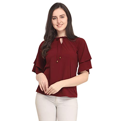 J B Fashion Women's Plain Regular fit Top (DESIGN-07-L_Maroon_Large)