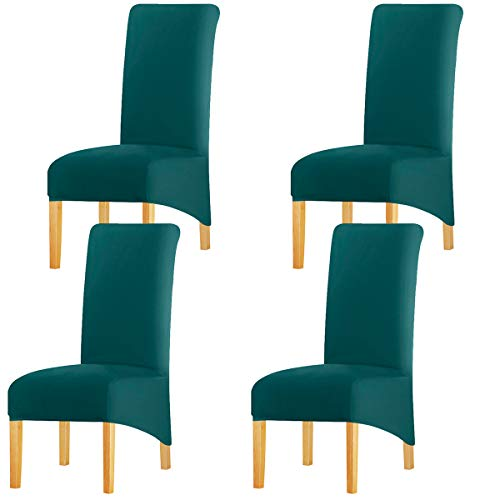 KELUINA Estiramiento sólido con respaldo alto Cubiertas de silla XL para comedor, fundas de silla de comedor grandes de Spandex para la vida en el hogar Restaurante Hotel (4 PACK,Verde azulad