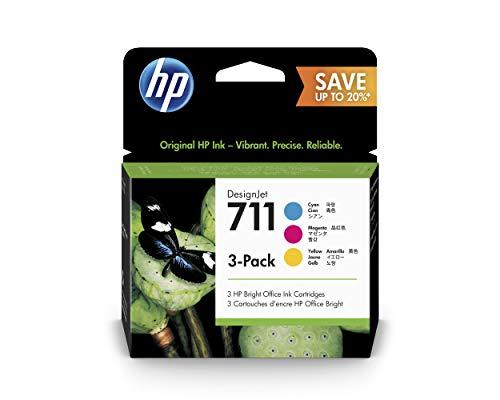 HP 711 P2V32A Cian, Magenta y Amarillo, 3x Cartuchos de Tinta HP DesignJet, 28ml, para Impresoras Plotter de Gran Formato HP DesignJet T120, T125, T130, T520, T525, T530 y Cabezal de Impresión HP 711
