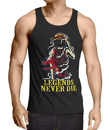 Legends Never Die - Luffy Débardeur Homme Tank Top, Taille:S;Couleur:Noir
